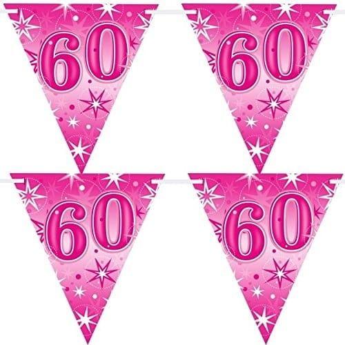 """Baner urodzinowy z flag na 60 urodziny """"Gwiazdki"""" różowy"""