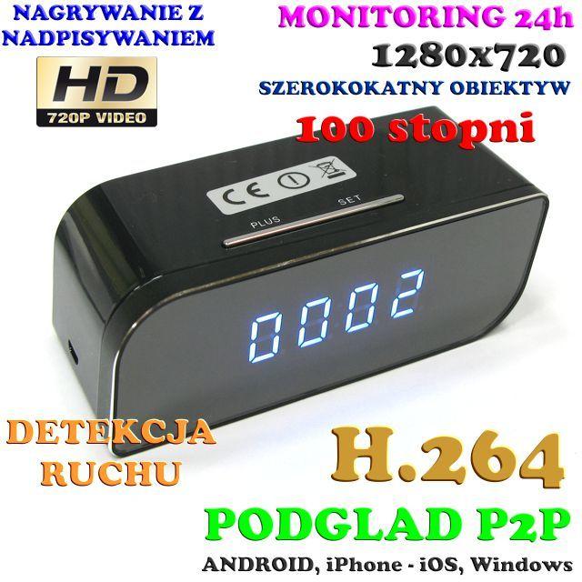 Szpiegowska Kamera HD WiFi/P2P Dzienno-Nocna (Cały Świat!) Ukryta w Zegarku Biurkowym + Zapis...