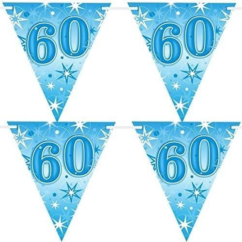 """Baner urodzinowy z flag na 60 urodziny """"Gwiazdki"""" niebieski"""