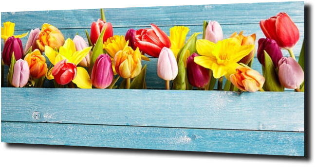obraz na szkle, panel szklany Tulipany 8 125X50