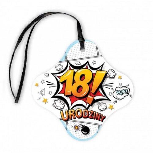 Zawieszki na butelkę na 18 urodziny Cartoon z czarną tasiemką, 20 szt.