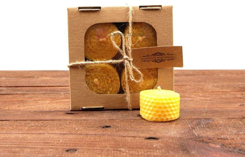 Zestaw prezentowy świec z węzy pszczelej w formie tealight