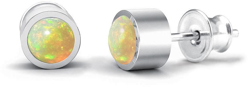 Kuźnia Srebra - Kolczyki srebrne sztyft, 15mm, Opal, 3g, model