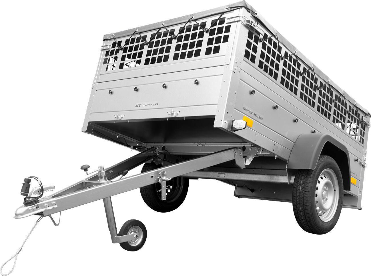 Przyczepa do samochodu na kat. B Unitrailer GARDEN TRAILER 201 KIPP z kołem podporowym, burtami siatkowymi i pokrowcem płaskim szarym