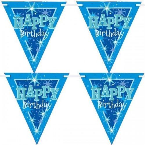 """Baner urodzinowy z flag Happy Birthday """"Gwiazdki"""" niebieski"""