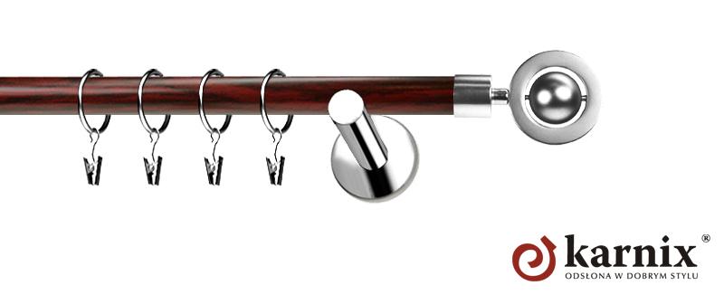 Karnisze Nowoczesne NEO Prestige pojedynczy 19mm Alpi INOX - mahoń