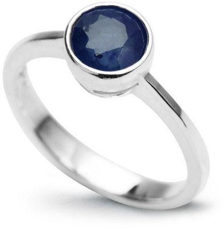 Staviori pierścionek z niebieskim szafirem, masa 1,00 ct.. srebro rodowane 0,925. certyfikat