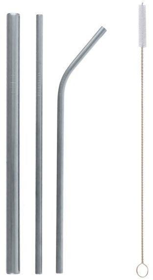 Słomki rurki metalowe srebrne 3 sztuki RM-SMS3
