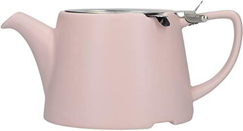London Pottery Owalny czajniczek z zaparzaczem do luźnej herbaty, kamionki, satynowy róż, 3 filiżanki dzbanek do herbaty z luźnymi liśćmi