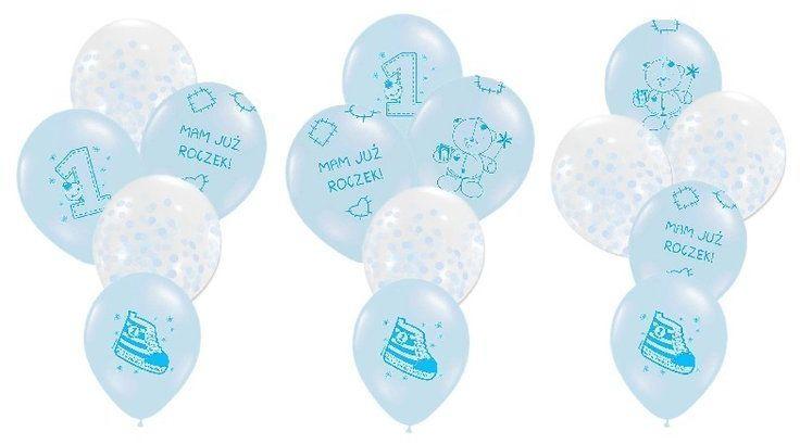 Zestaw balonów na Roczek chłopca 15 sztuk ZB32