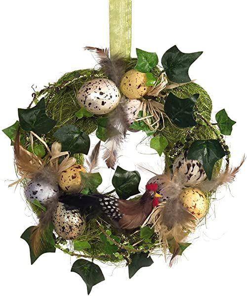 HEITMANN DECO Wieniec na drzwi z kurką i jajkami wielkanocnymi  wieniec ścienny  naturalna dekoracja na Wielkanoc i wiosnę