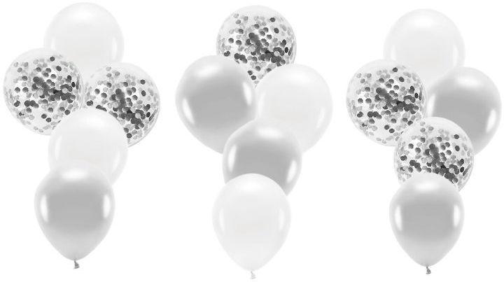 Zestaw balonów w srebrnej kolorystyce 15 sztuk ZB37