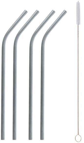 Słomki rurki metalowe srebrne 4 sztuki RM-SZS4