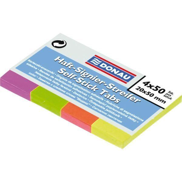 Zakładki DONAU papierowe 20 X 50 mm 4 kolory po 50 kartek - X08137