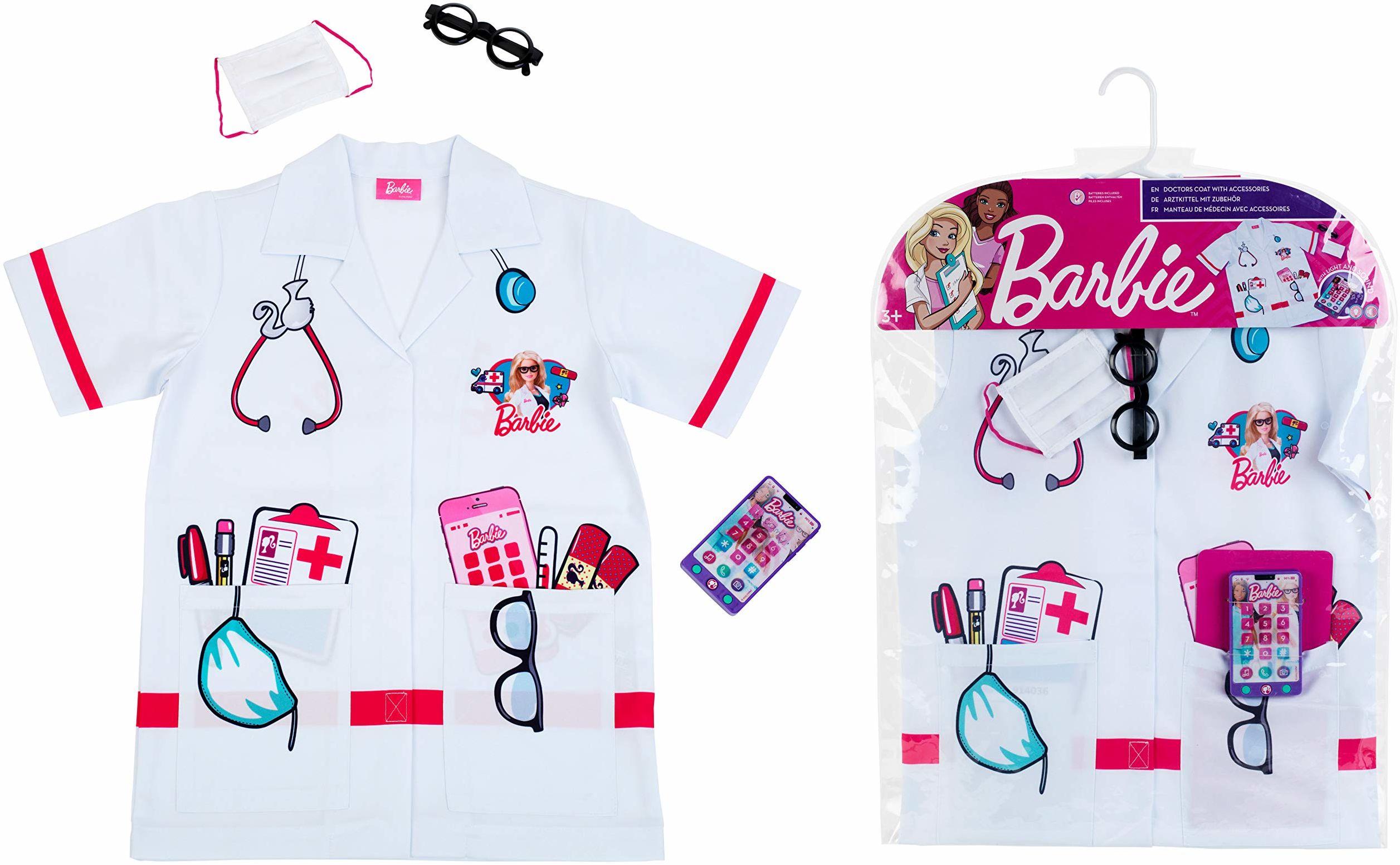 Theo Klein 4117 Barbie kostium lekarski z akcesoriami, uniseks, dla dzieci, kolorowy