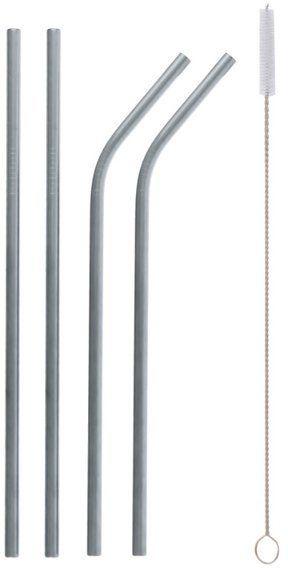 Słomki rurki metalowe srebrne 4 sztuki RM-SZP4