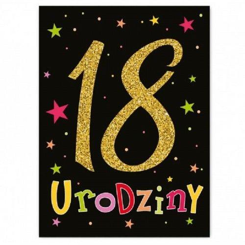 Etykieta na butelkę na 18 urodziny Brokatowe Czarne, 25 szt.