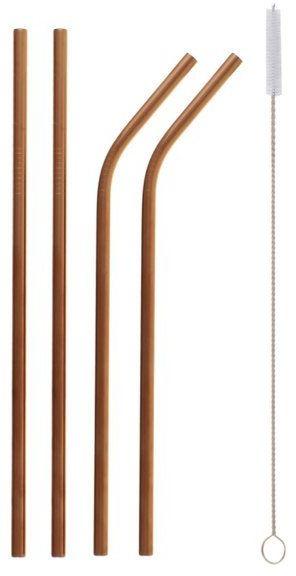 Słomki rurki metalowe różowe złoto 4 sztuki RM-RZP4