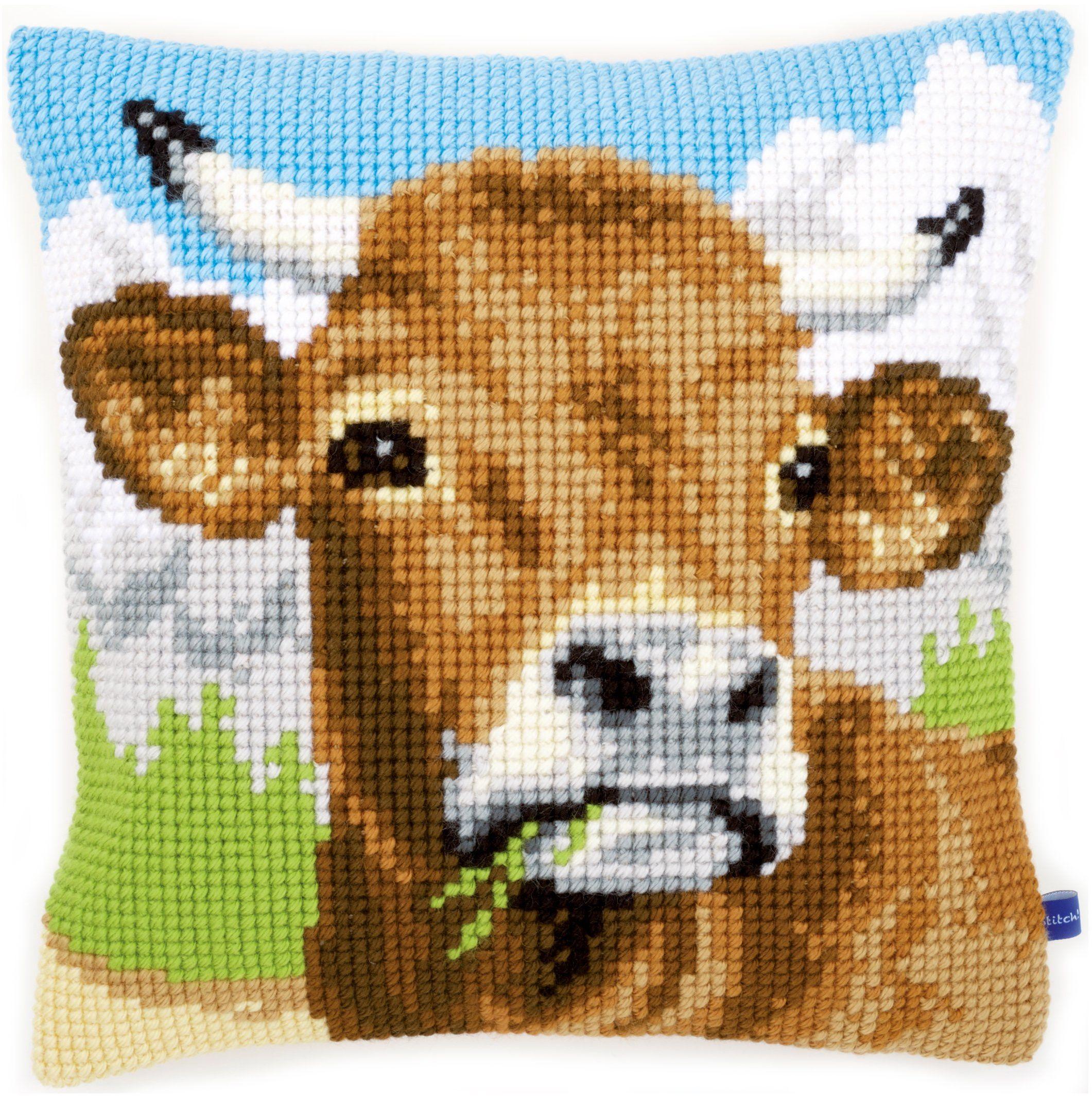 Vervaco Poduszka do haftu krzyżykowego: krowa