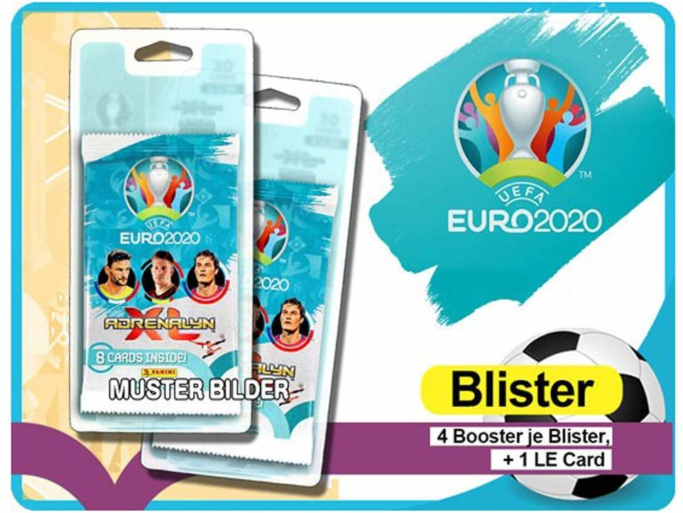 Karty kolekcjonerskie Panini UEFA Euro 2020 Adrenalyn XL TC, blister, 4 boostery i LE Card