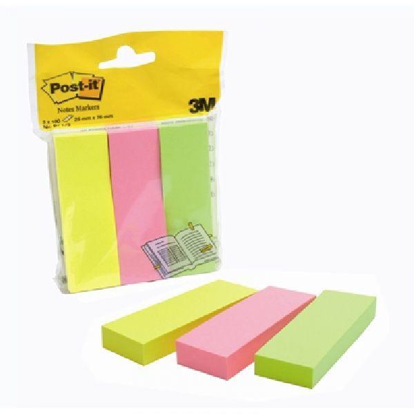 Znaczniki samoprzylepne POST-IT neonowe 100 kart 3 bloczki 26 X 76 mm - X04459