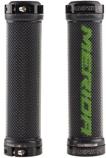 Chwyty kierownicy Merida 2 pierścienie guma GP-MD017 zielony napis 130mm