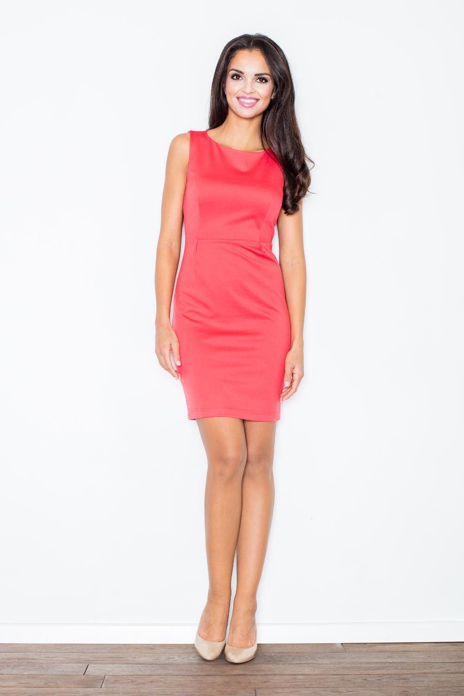 Koralowa modna ołówkowa sukienka bez rękawów