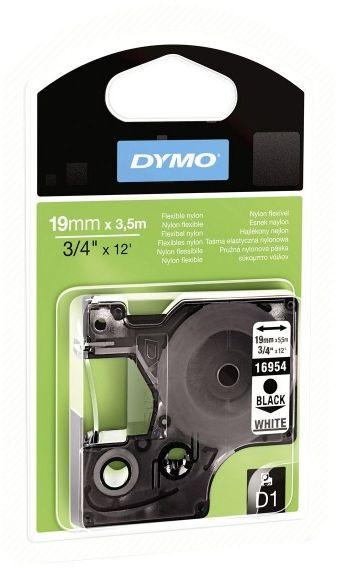 Etykiety, taśma DYMO D1 19mm elastyczna (nylonowa) - S0718050 (16958) taśma biała, nadruk czarny -KURIER od 15zł!