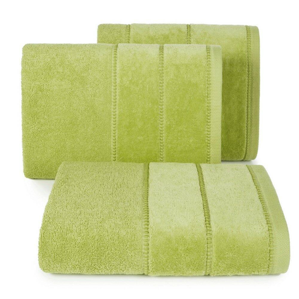 Ręcznik Mari 50x90 oliwkowy z welurową bordiurą 500g/m2 Eurofirany