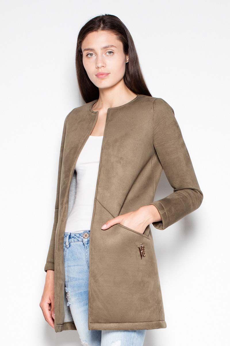 Oliwkowy krótki pudełkowy płaszcz bez zapięcia