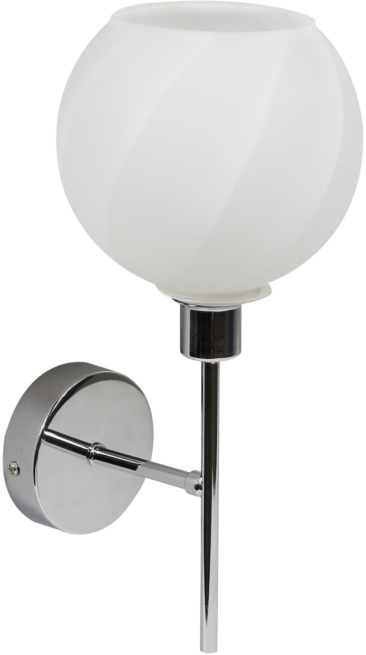 Candellux RAUL 21-72191 kinkiet lampa ścienna klosz szklany biały 1X40W E14 chrom 15cm