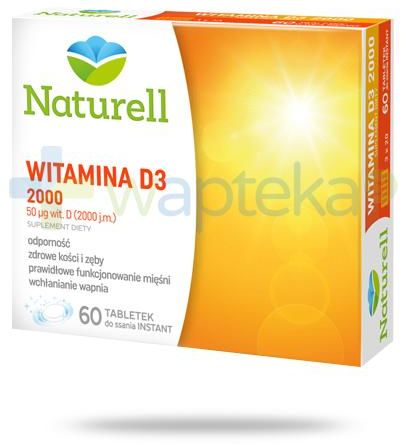 Naturell Witamina D3 2000 60 tabletek + Naturell witamina C dla dzieci 20tabl.