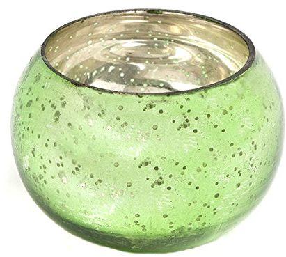 Insideretail Ślubne świeczniki na świecenia: Szkło rtęciowe okrągłe wotywy - zielone-6 cm x 6 cm, zestaw 48, zielony, 6 x 5 x 6 cm