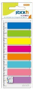 Zakładki STICK''N paski + linijka 12 X 45 mm 8 kolorów X 25 karteczek - X06010