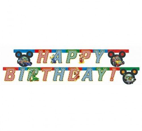 "Baner urodzinowy ""Mickey Mouse Roadster Racers - Happy Bierthday"""