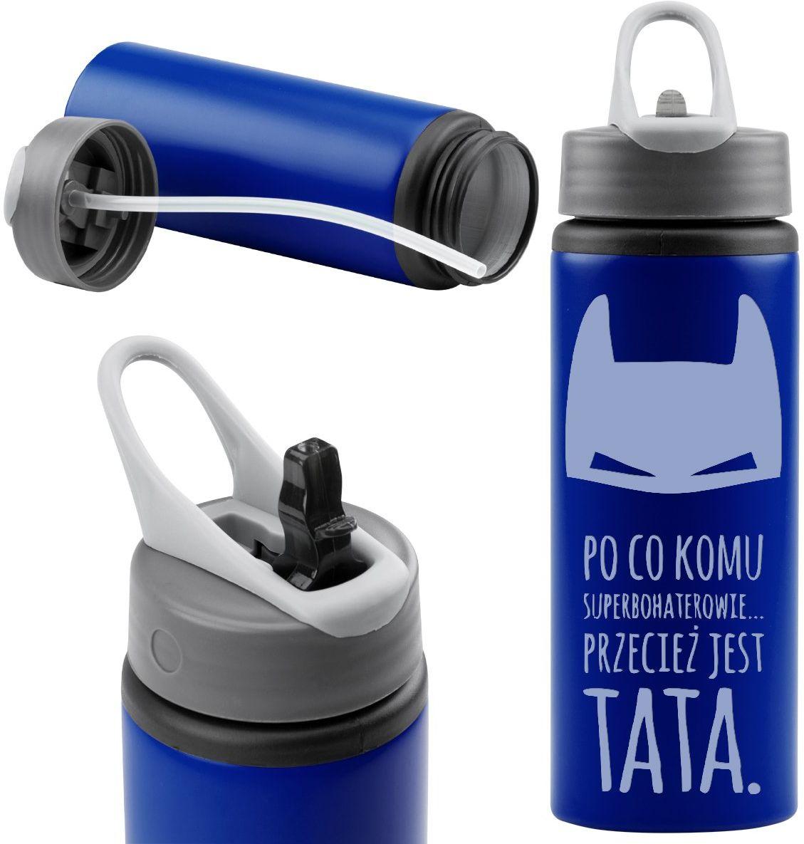 Butelka sportowa 750 ml z wygodnym uchwytem granatowa Prezent z Grawerem