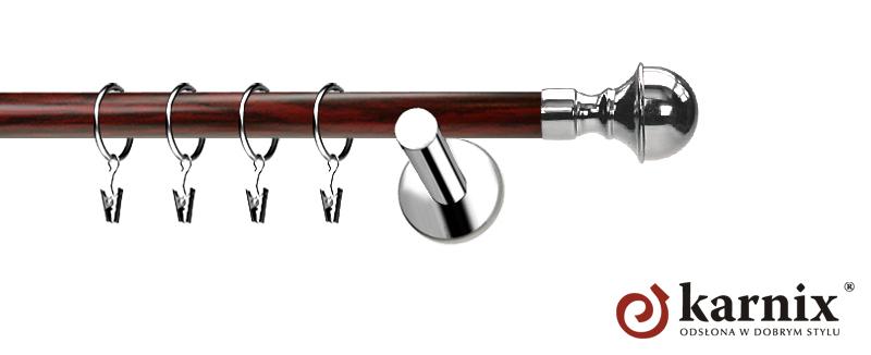 Karnisze Nowoczesne NEO Prestige pojedynczy 19mm Bella INOX - mahoń