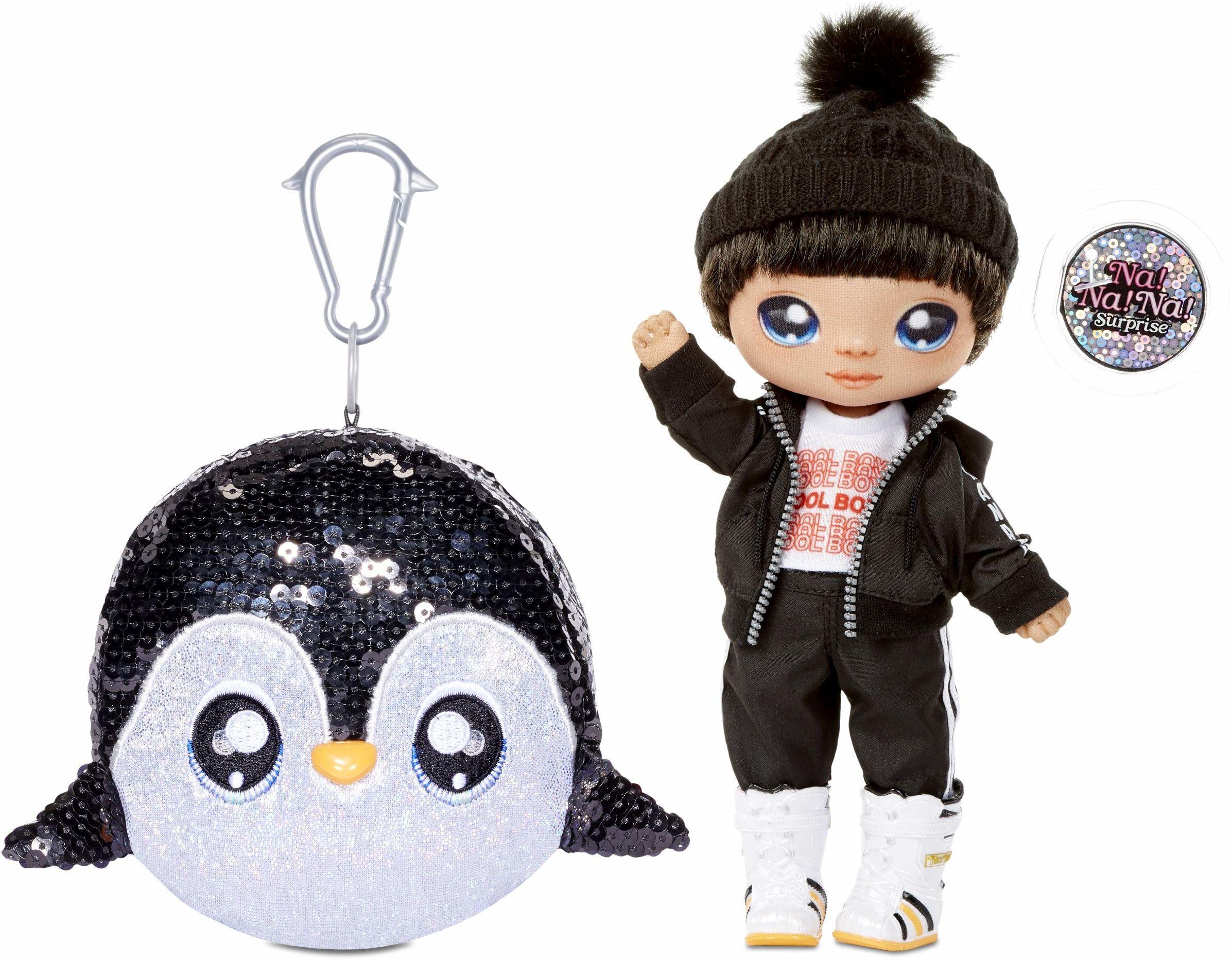 Na! Na! Na! Surprise 2 w 1 chłopięca modna lalka i błyszcząca cekiny torebka z serii błyszczącej  Andre Avalanche, 19 cm pingwin chłopiec lalka