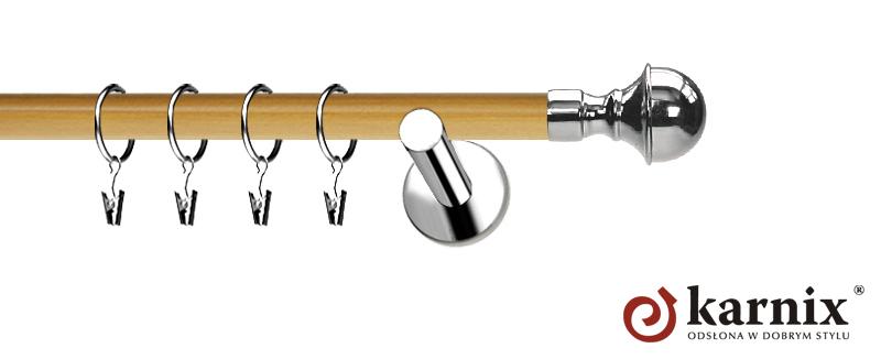 Karnisze Nowoczesne NEO Prestige pojedynczy 19mm Bella INOX - pinia