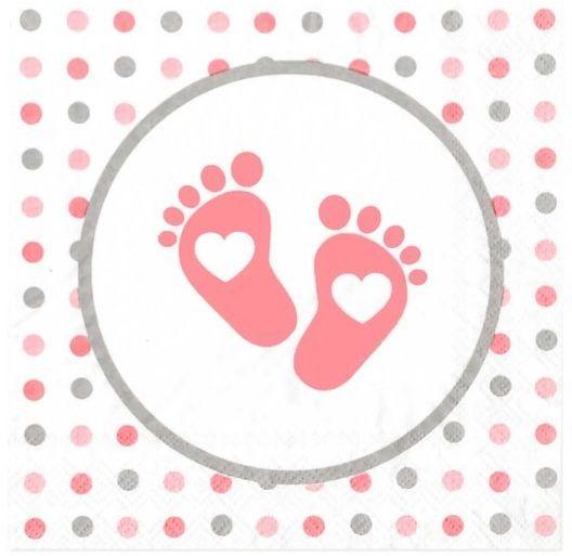 Serwetki różowe stópki Baby Shower 33cm 15 sztuk 5111366