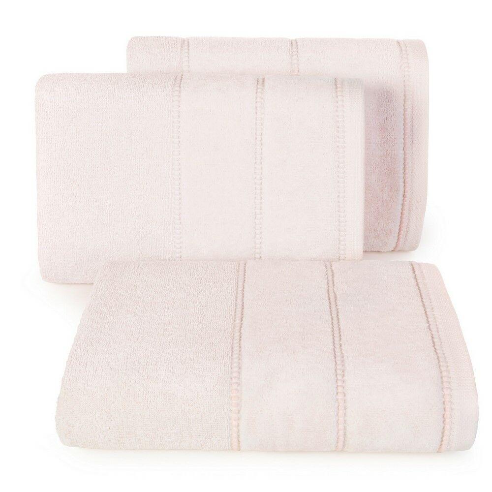 Ręcznik Mari 70x140 różowy jasny z welurową bordiurą 500g/m2 Eurofirany