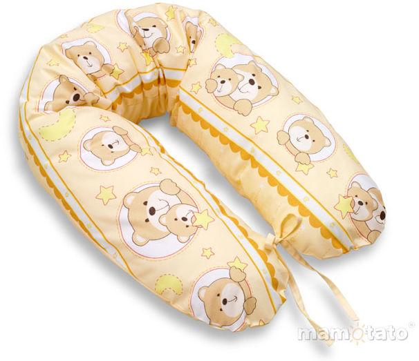 MAMO-TATO Poszewka na poduszkę dla kobiet w ciąży Misie w kółeczkach morelowe