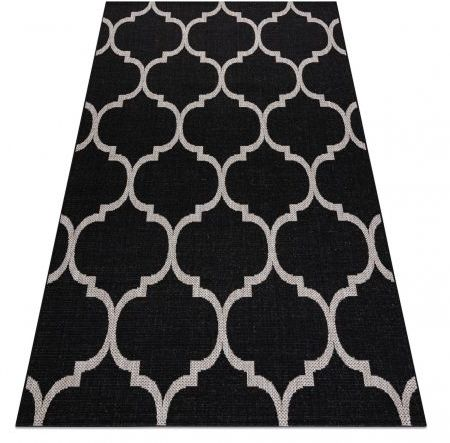DYWAN SZNURKOWY SIZAL FLOORLUX 20608 , koniczyna marokańska, trellis czarny / srebrny 80x150 cm