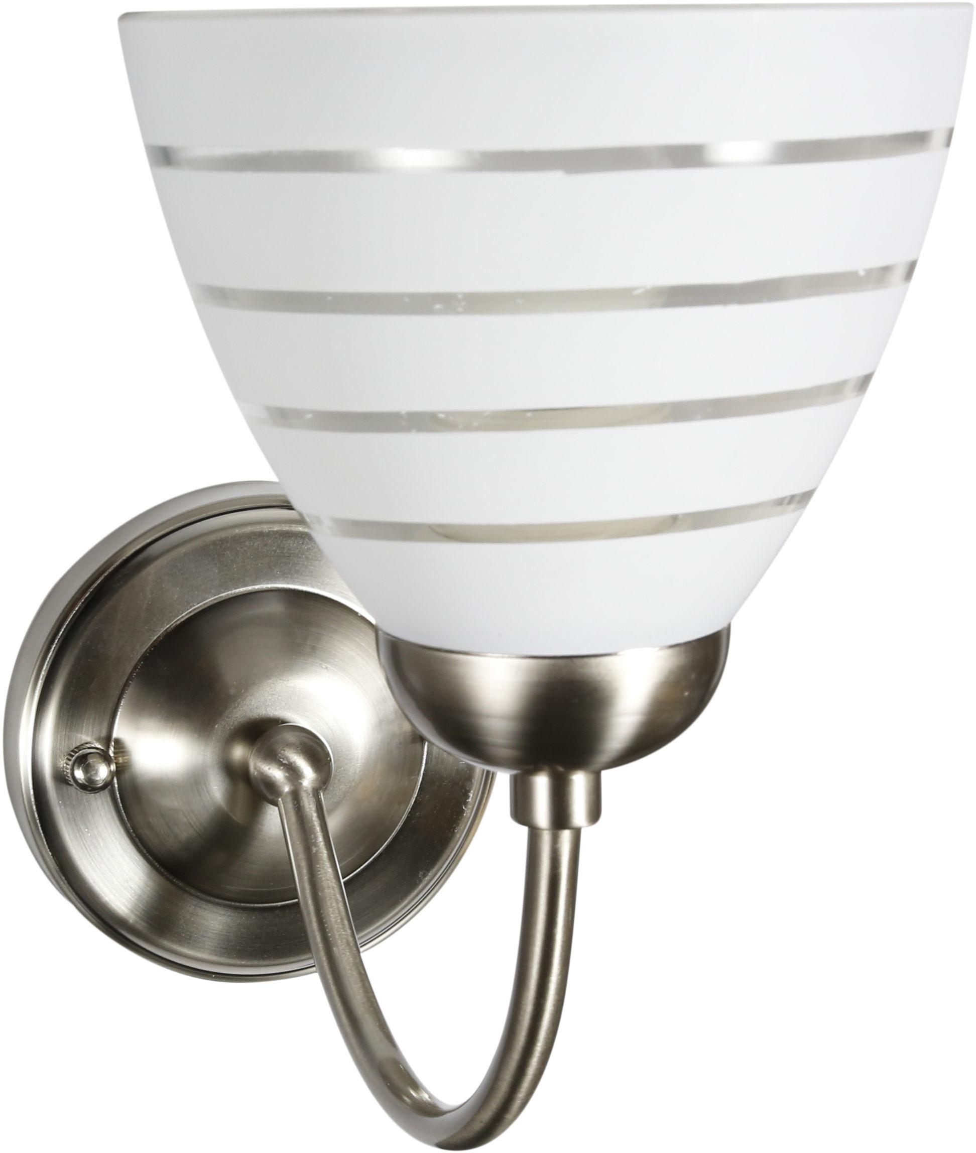 Candellux ULI 21-66145 kinkiet lampa ścienna szklany klosz z paskiem 1X60W E27 satyna nikiel 13,5cm