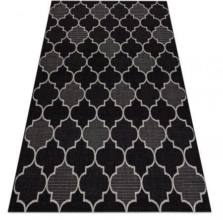 DYWAN SZNURKOWY SIZAL FLOORLUX 20607 , koniczyna marokańska, trellis czarny / srebrny 80x150 cm