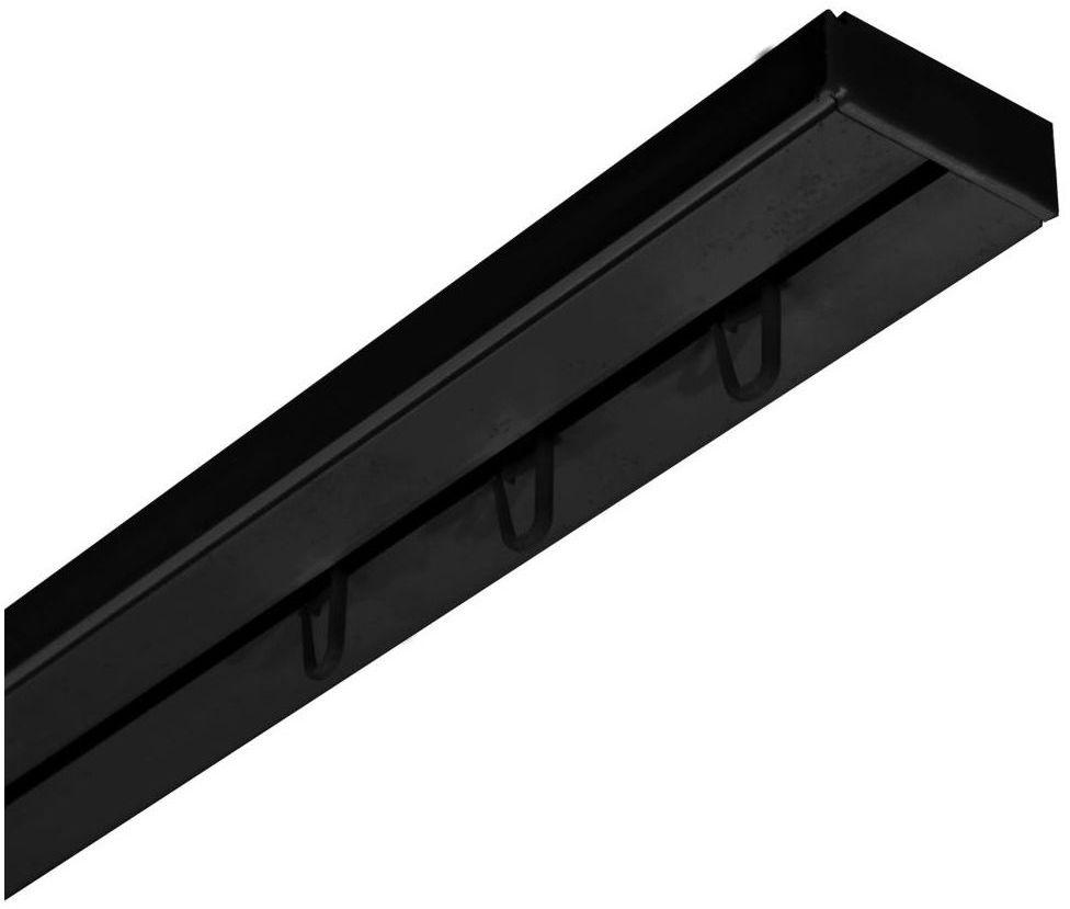 Szyna sufitowa 1-torowa czarna 300 cm z akcesoriami PVC