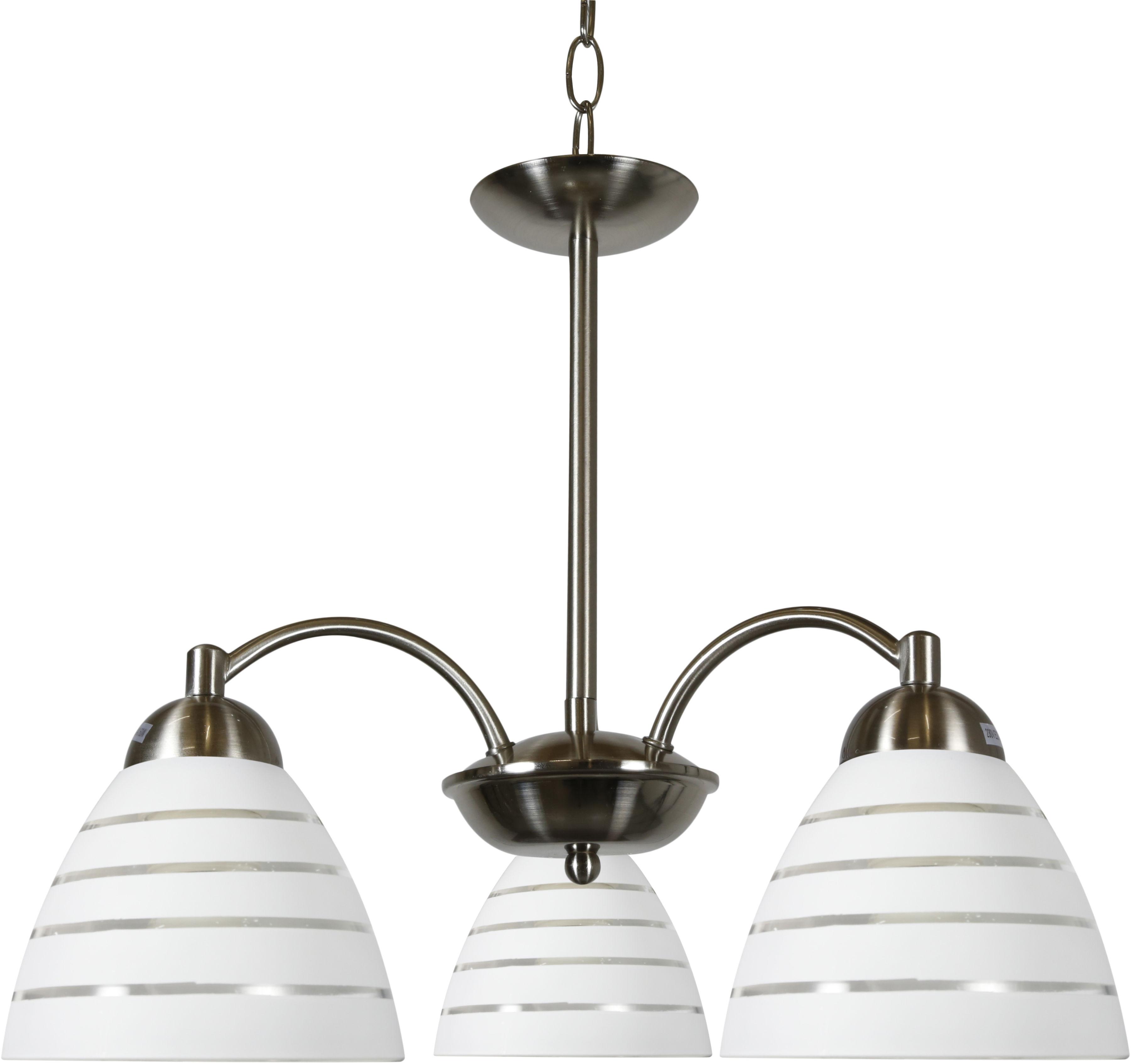 Candellux ULI 33-66152 lampa wisząca szklany klosz mleczny z paskiem 3X60W E27 satyna nikiel 52cm