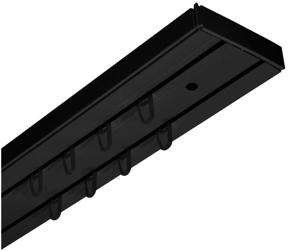 Szyna sufitowa 2-torowa czarna 120 cm z akcesoriami PVC