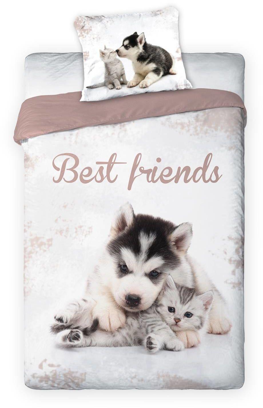 Pościel Młodzieżowa Bawełniana Best Friends Cat Dog Biała 312 140x200NP 2 części 70x90