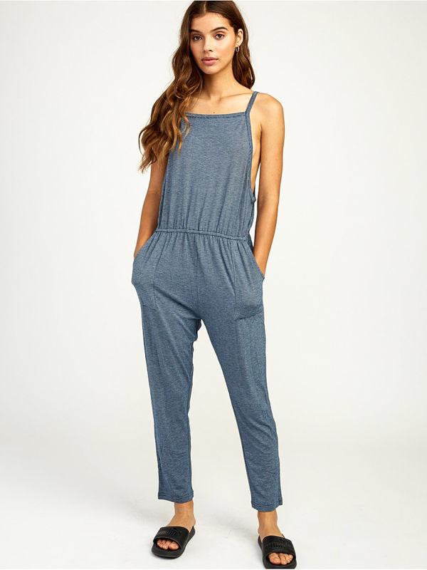 RVCA WAYLIN JUMPER POSEIDON BLUE spodnie lniane kobiety - S